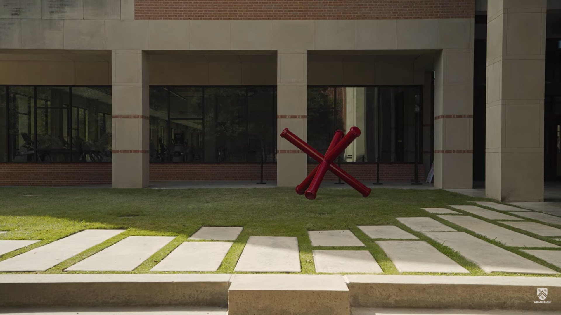 Picture of the public art piece that sits outside of the Gibbs Recreation and Wellness Center.