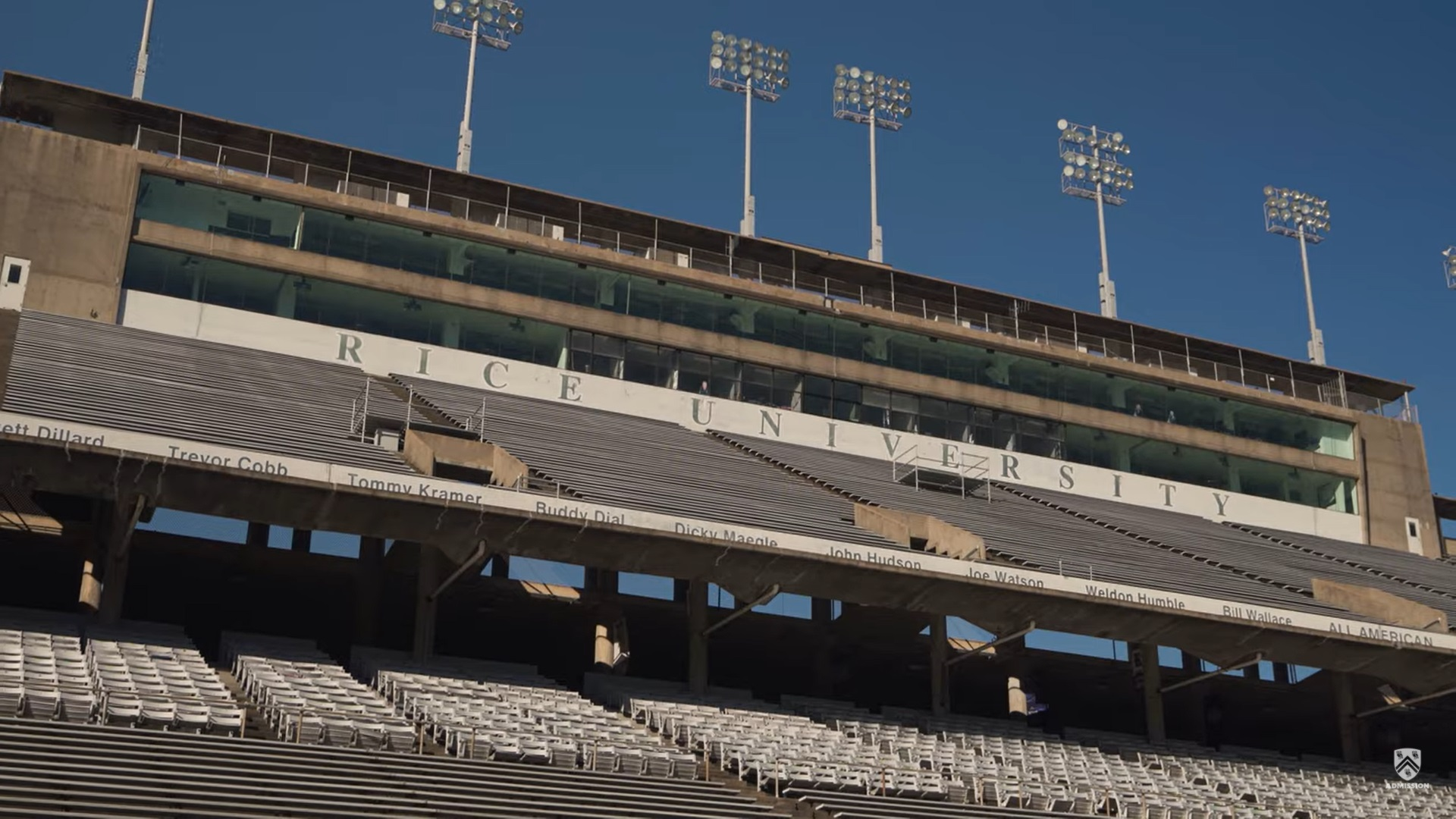A picture of the empty stands inside of Rice Stadium.