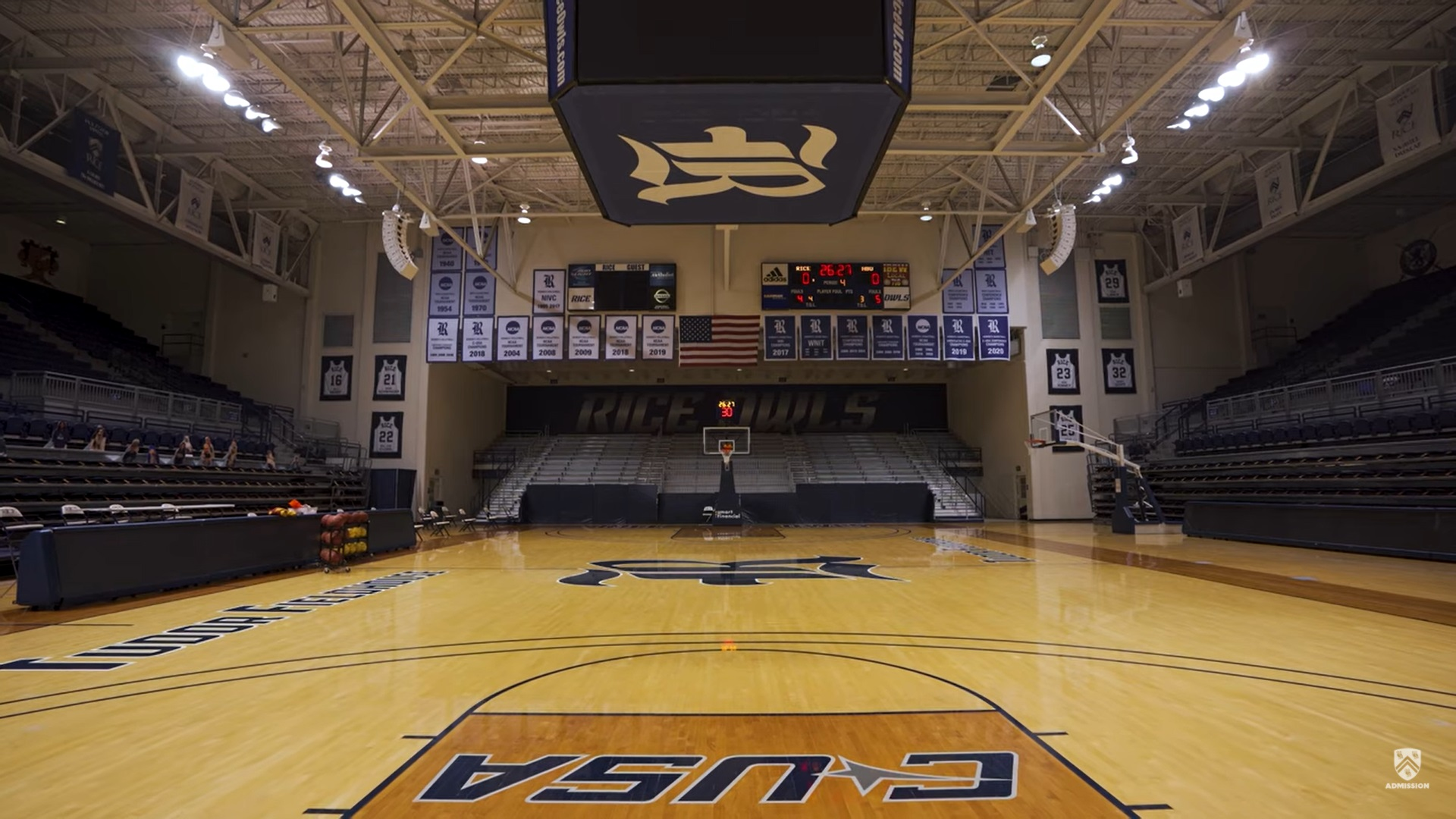 Picture of the inside of the gym inside of Tudor Fieldhouse.