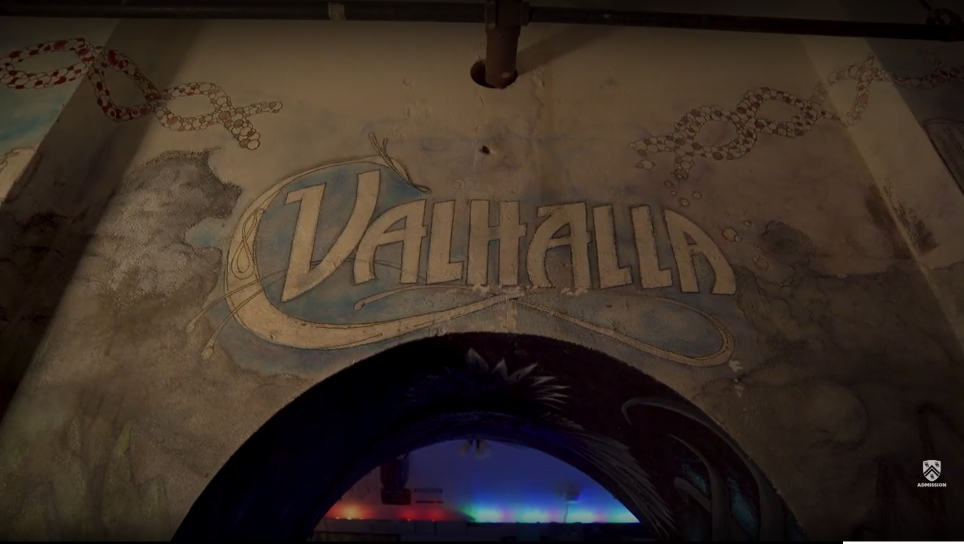 A picture of the entrance to Valhalla, focusing on the name painted above the arched doorway..
