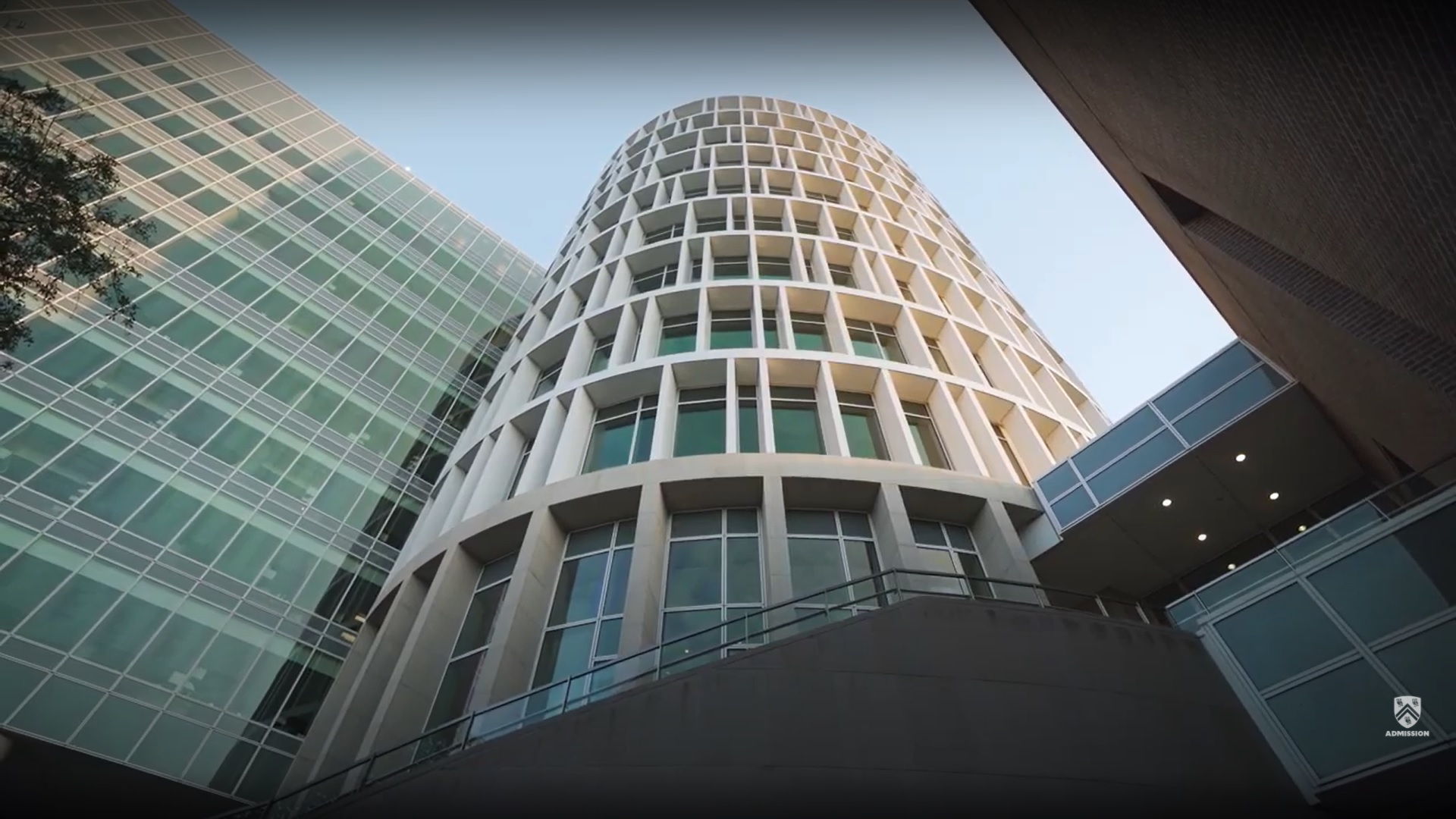 Picture from the ground looking up at the Bioscience Research Collaborative building.