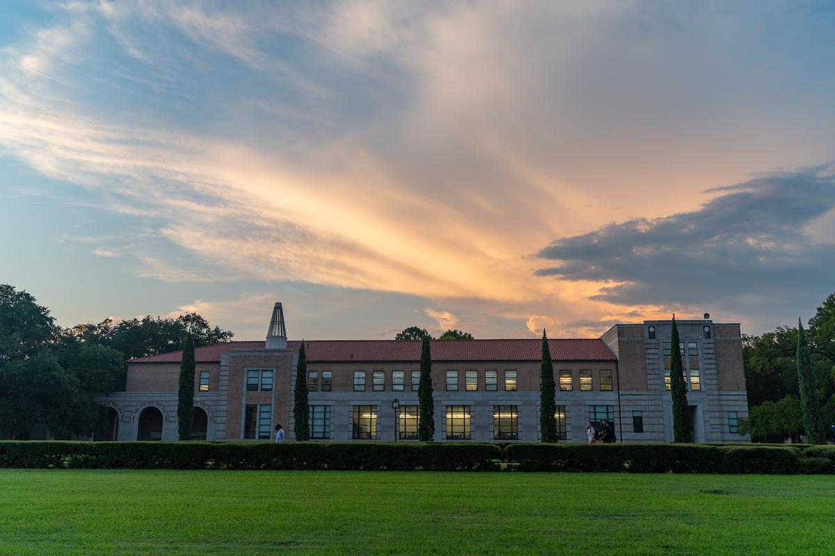 View of Anderson Hall length wise at dawn.