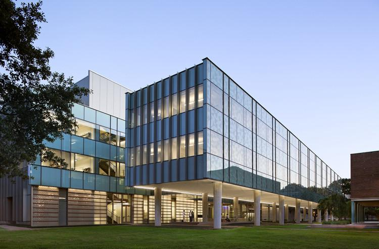 Outside view of Brockman Hall for Physics featuring glass windows.