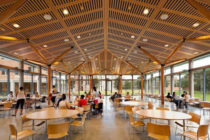 Inside commons area of Duncan College which features a high ceiling as well as tables and chairs.