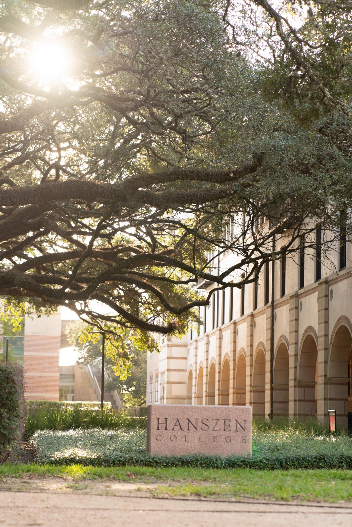 Outside picture of Hanszen College showing the college sign.