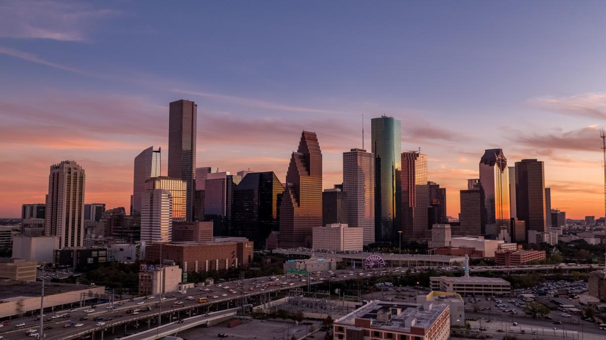 View of the Houston Downtown Skyline at sunset.
