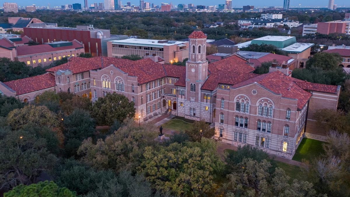 Aerial view of Keck Hall at dusk.