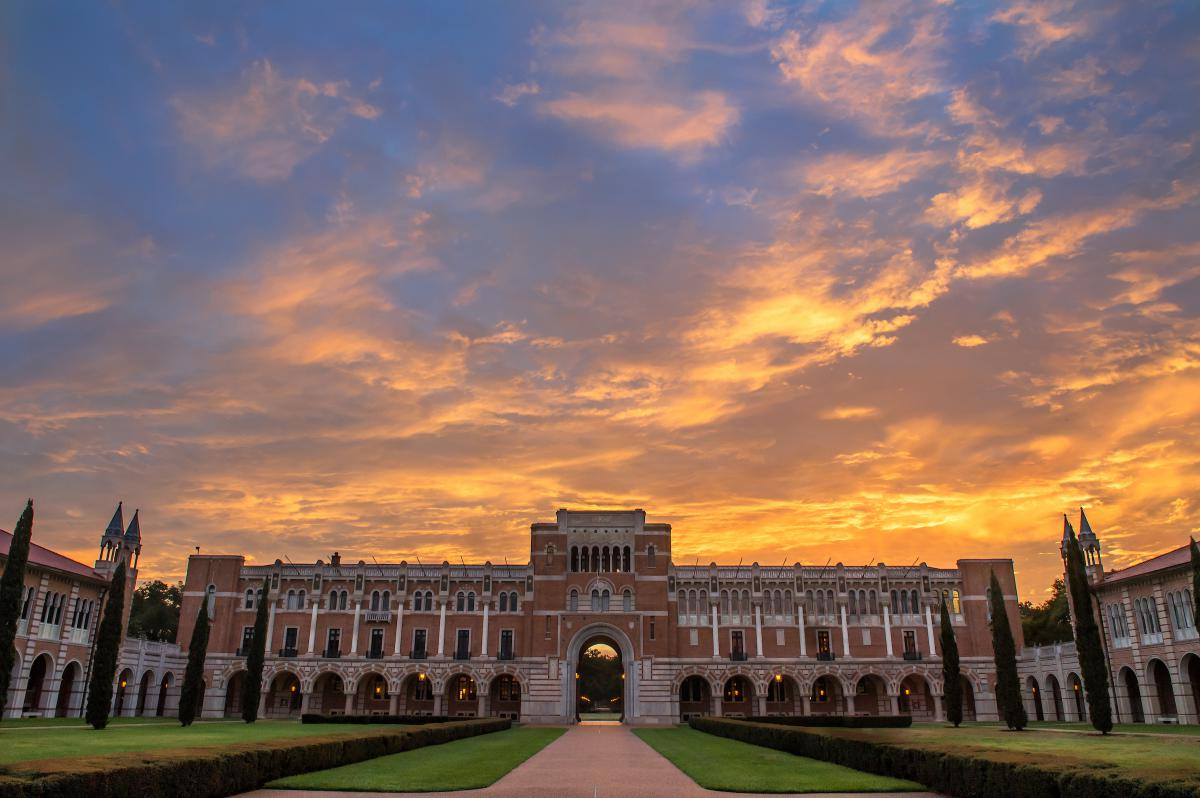 View of Lovett Hall taken from Academic Quad at Sunrise