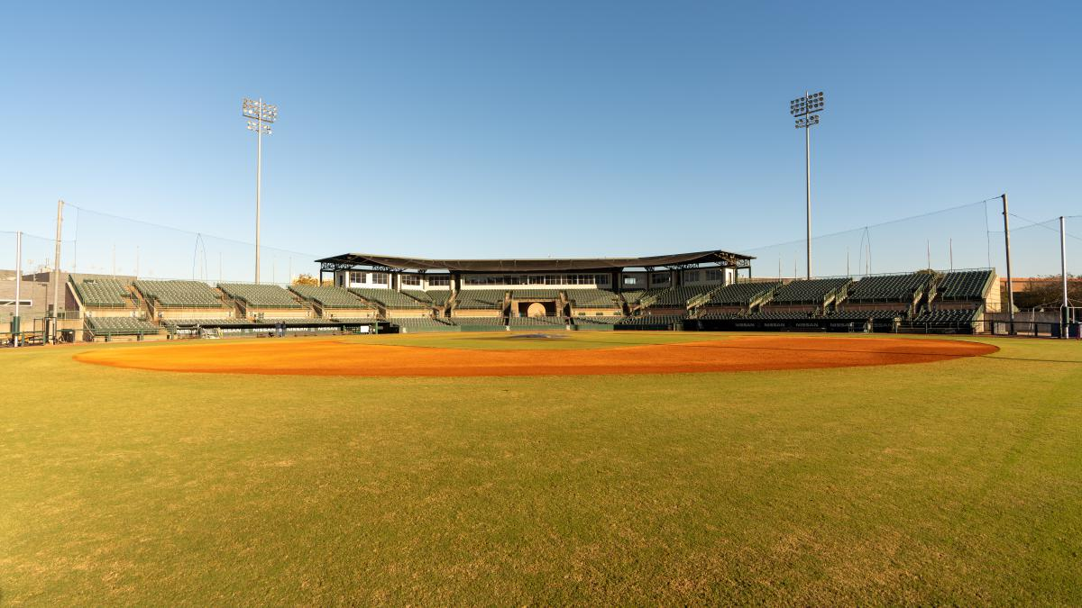 Picture of an empty Reckling Park, taken from the outfield looking at the stands.