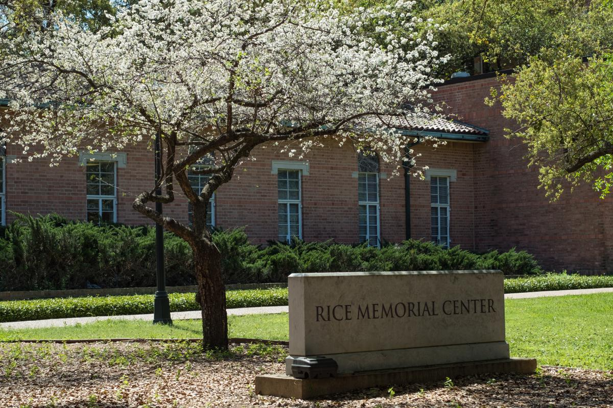 Picture of the sign that says Rice Memorial Center outside of the building of the same name.
