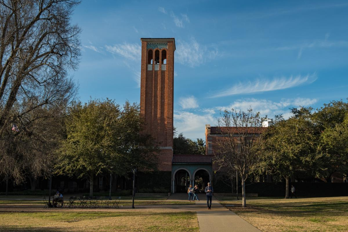 Picture of the outside of the Rice Memorial Center featuring the tower of the chapel.