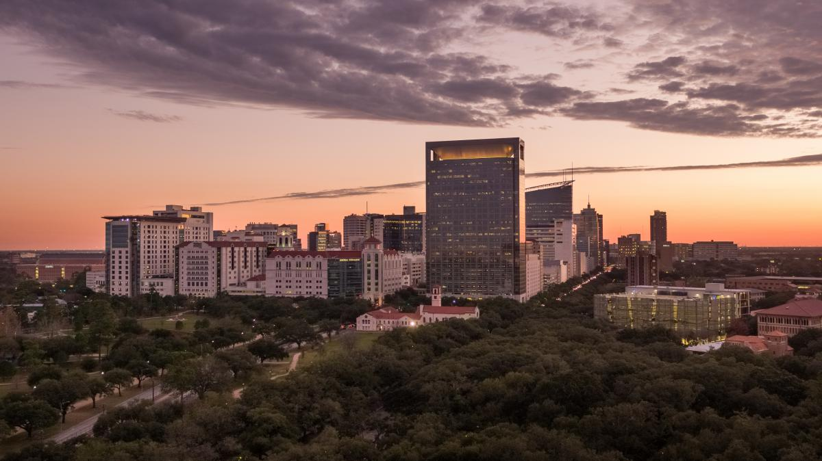 Picture of the Texas Medical Center buildings at sunset.