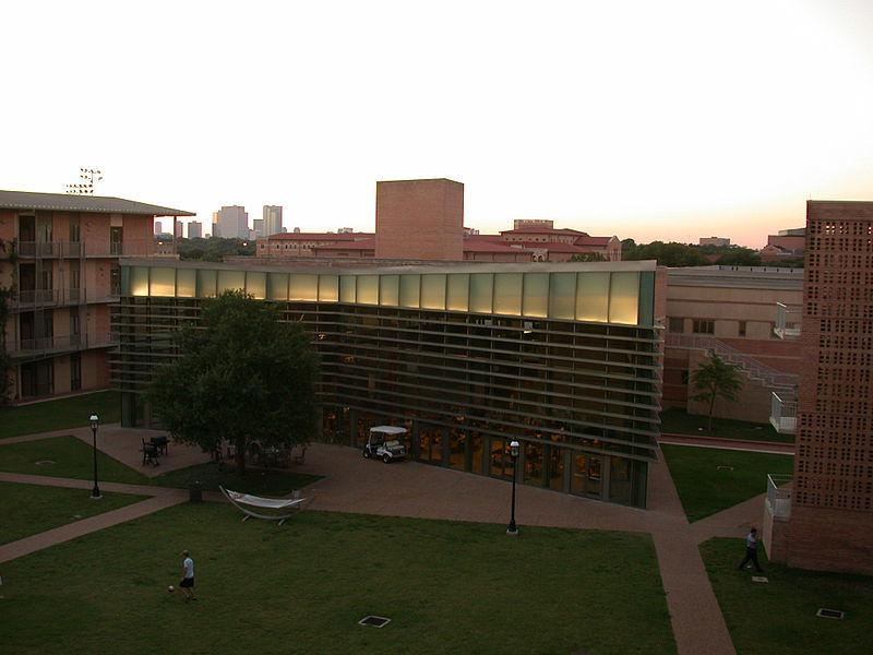 Aerial view of Wiess College and courtyard at sunset.